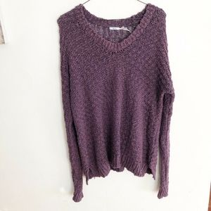 UO Purple Cable Knit Sweater